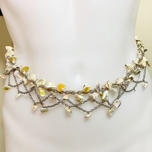 Sea shell and silver tone link belt